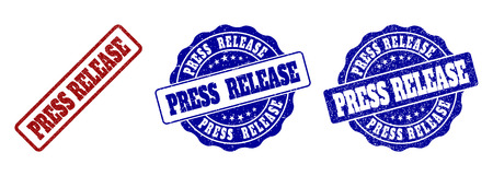 PRESS RELEASE scratched stamp seals in red and blue colors. Vector PRESS RELEASE labels with distress surface. Graphic elements are rounded rectangles, rosettes, circles and text labels. Illustration