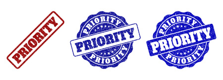 PRIORITY grunge stamp seals in red and blue colors. Vector PRIORITY labels with grunge style. Graphic elements are rounded rectangles, rosettes, circles and text tags.