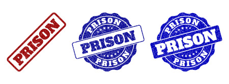 PRISON grunge stamp seals in red and blue colors. Vector PRISON imprints with grunge surface. Graphic elements are rounded rectangles, rosettes, circles and text captions.