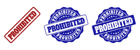 PROHIBITED grunge stamp seals in red and blue colors. Vector PROHIBITED marks with grunge effect. Graphic elements are rounded rectangles, rosettes, circles and text tags.