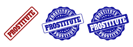 PROSTITUTE grunge stamp seals in red and blue colors. Vector PROSTITUTE overlays with grunge surface. Graphic elements are rounded rectangles, rosettes, circles and text tags.