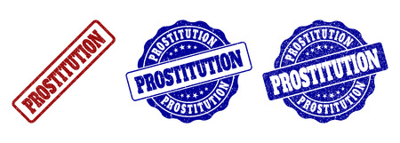 PROSTITUTION grunge stamp seals in red and blue colors. Vector PROSTITUTION signs with scratced effect. Graphic elements are rounded rectangles, rosettes, circles and text tags.