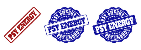 PSY ENERGY grunge stamp seals in red and blue colors. Vector PSY ENERGY labels with grunge texture. Graphic elements are rounded rectangles, rosettes, circles and text tags. Ilustracja