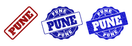 PUNE scratched stamp seals in red and blue colors. Vector PUNE watermarks with distress style. Graphic elements are rounded rectangles, rosettes, circles and text labels.