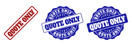 QUOTE ONLY grunge stamp seals in red and blue colors. Vector QUOTE ONLY labels with distress effect. Graphic elements are rounded rectangles, rosettes, circles and text labels.