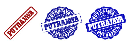 PUTRAJAYA grunge stamp seals in red and blue colors. Vector PUTRAJAYA labels with grunge surface. Graphic elements are rounded rectangles, rosettes, circles and text tags. Illustration