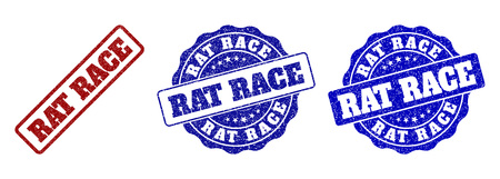 RAT RACE grunge stamp seals in red and blue colors. Vector RAT RACE overlays with grunge surface. Graphic elements are rounded rectangles, rosettes, circles and text labels.