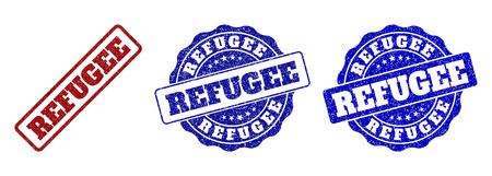 REFUGEE scratched stamp seals in red and blue colors. Vector REFUGEE labels with distress style. Graphic elements are rounded rectangles, rosettes, circles and text labels.