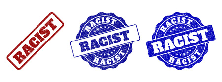 RACIST scratched stamp seals in red and blue colors. Vector RACIST labels with draft style. Graphic elements are rounded rectangles, rosettes, circles and text labels. Illustration