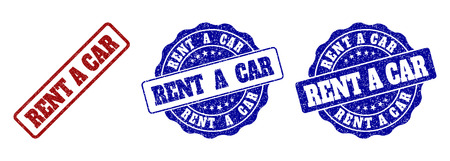 RENT A CAR grunge stamp seals in red and blue colors. Vector RENT A CAR labels with grunge texture. Graphic elements are rounded rectangles, rosettes, circles and text labels.