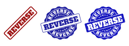 REVERSE grunge stamp seals in red and blue colors. Vector REVERSE labels with draft effect. Graphic elements are rounded rectangles, rosettes, circles and text tags.