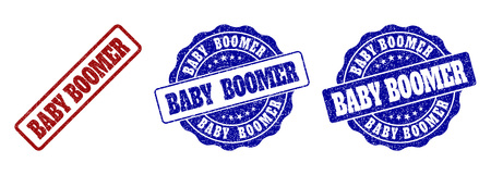 BABY BOOMER scratched stamp seals in red and blue colors. Vector BABY BOOMER marks with grainy surface. Graphic elements are rounded rectangles, rosettes, circles and text tags.