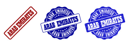 ARAB EMIRATES grunge stamp seals in red and blue colors. Vector ARAB EMIRATES marks with grunge style. Graphic elements are rounded rectangles, rosettes, circles and text labels.