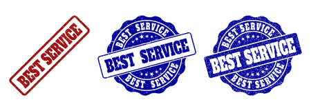 BEST SERVICE grunge stamp seals in red and blue colors. Vector BEST SERVICE signs with grunge texture. Graphic elements are rounded rectangles, rosettes, circles and text tags.