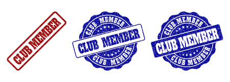 CLUB MEMBER scratched stamp seals in red and blue colors. Vector CLUB MEMBER marks with grunge effect. Graphic elements are rounded rectangles, rosettes, circles and text tags.