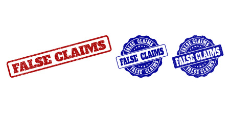 FALSE CLAIMS grunge stamp seals in red and blue colors. Vector FALSE CLAIMS watermarks with grunge surface. Graphic elements are rounded rectangles, rosettes, circles and text titles.