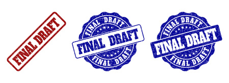 FINAL DRAFT grunge stamp seals in red and blue colors. Vector FINAL DRAFT labels with grunge surface. Graphic elements are rounded rectangles, rosettes, circles and text captions.