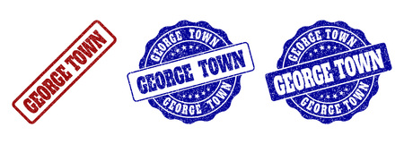 GEORGE TOWN scratched stamp seals in red and blue colors. Vector GEORGE TOWN labels with grunge effect. Graphic elements are rounded rectangles, rosettes, circles and text labels.