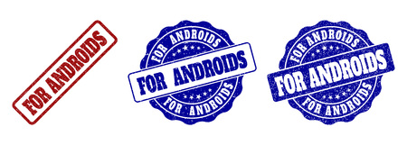 FOR ANDROIDS grunge stamp seals in red and blue colors. Vector FOR ANDROIDS watermarks with grunge effect. Graphic elements are rounded rectangles, rosettes, circles and text captions.