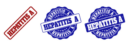 HEPATITIS A scratched stamp seals in red and blue colors. Vector HEPATITIS A watermarks with distress surface. Graphic elements are rounded rectangles, rosettes, circles and text labels. Illustration