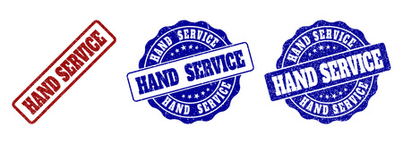 HAND SERVICE grunge stamp seals in red and blue colors. Vector HAND SERVICE overlays with grunge effect. Graphic elements are rounded rectangles, rosettes, circles and text labels.