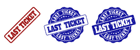 LAST TICKET grunge stamp seals in red and blue colors. Vector LAST TICKET overlays with grunge effect. Graphic elements are rounded rectangles, rosettes, circles and text titles. Çizim