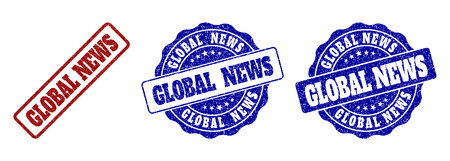 GLOBAL NEWS grunge stamp seals in red and blue colors. Vector GLOBAL NEWS watermarks with grunge effect. Graphic elements are rounded rectangles, rosettes, circles and text labels. Çizim