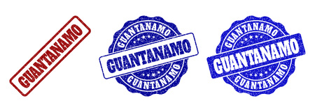 GUANTANAMO scratched stamp seals in red and blue colors. Vector GUANTANAMO labels with draft effect. Graphic elements are rounded rectangles, rosettes, circles and text labels.
