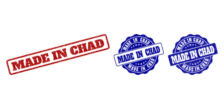 MADE IN CHAD grunge stamp seals in red and blue colors. Vector MADE IN CHAD imprints with grunge style. Graphic elements are rounded rectangles, rosettes, circles and text tags. Çizim