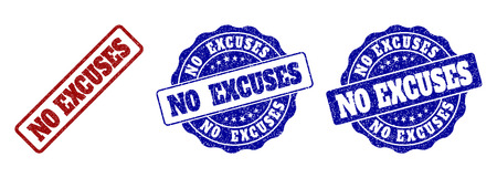 NO EXCUSES grunge stamp seals in red and blue colors. Vector NO EXCUSES labels with draft style. Graphic elements are rounded rectangles, rosettes, circles and text titles.
