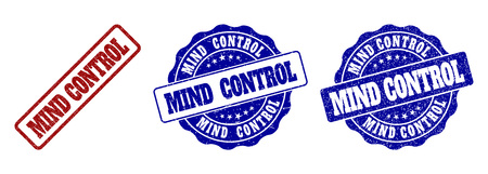 MIND CONTROL scratched stamp seals in red and blue colors. Vector MIND CONTROL signs with dirty style. Graphic elements are rounded rectangles, rosettes, circles and text labels.