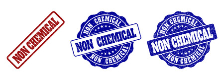 NON CHEMICAL scratched stamp seals in red and blue colors. Vector NON CHEMICAL signs with distress surface. Graphic elements are rounded rectangles, rosettes, circles and text titles.