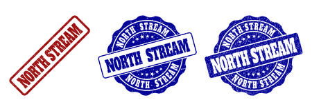 NORTH STREAM grunge stamp seals in red and blue colors. Vector NORTH STREAM labels with grunge effect. Graphic elements are rounded rectangles, rosettes, circles and text titles. Çizim