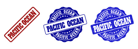 PACIFIC OCEAN grunge stamp seals in red and blue colors. Vector PACIFIC OCEAN signs with grunge style. Graphic elements are rounded rectangles, rosettes, circles and text tags. Çizim