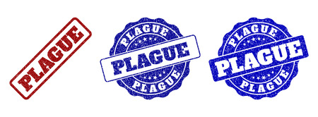 PLAGUE grunge stamp seals in red and blue colors. Vector PLAGUE watermarks with grunge surface. Graphic elements are rounded rectangles, rosettes, circles and text titles.