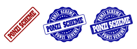 PONZI SCHEME grunge stamp seals in red and blue colors. Vector PONZI SCHEME signs with dirty texture. Graphic elements are rounded rectangles, rosettes, circles and text titles. Vettoriali