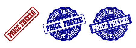PRICE FREEZE grunge stamp seals in red and blue colors. Vector PRICE FREEZE labels with distress style. Graphic elements are rounded rectangles, rosettes, circles and text labels.