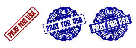 PRAY FOR USA grunge stamp seals in red and blue colors. Vector PRAY FOR USA marks with grunge texture. Graphic elements are rounded rectangles, rosettes, circles and text titles.