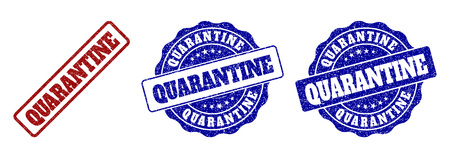 QUARANTINE grunge stamp seals in red and blue colors. Vector QUARANTINE labels with dirty surface. Graphic elements are rounded rectangles, rosettes, circles and text captions.