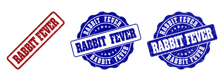 RABBIT FEVER scratched stamp seals in red and blue colors. Vector RABBIT FEVER labels with distress style. Graphic elements are rounded rectangles, rosettes, circles and text labels.