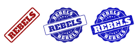 REBELS grunge stamp seals in red and blue colors. Vector REBELS overlays with grunge effect. Graphic elements are rounded rectangles, rosettes, circles and text captions.