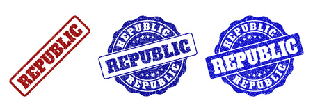 REPUBLIC grunge stamp seals in red and blue colors. Vector REPUBLIC watermarks with grunge texture. Graphic elements are rounded rectangles, rosettes, circles and text captions. Illustration
