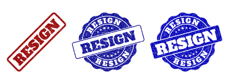 RESIGN grunge stamp seals in red and blue colors. Vector RESIGN marks with grunge effect. Graphic elements are rounded rectangles, rosettes, circles and text tags.