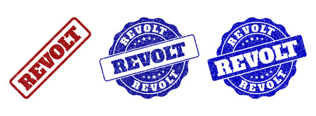 REVOLT scratched stamp seals in red and blue colors. Vector REVOLT labels with distress surface. Graphic elements are rounded rectangles, rosettes, circles and text labels. Vectores
