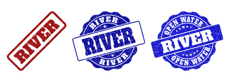RIVER grunge stamp seals in red and blue colors. Vector RIVER signs with grunge surface. Graphic elements are rounded rectangles, rosettes, circles and text tags. Designed for rubber stamp imitations.