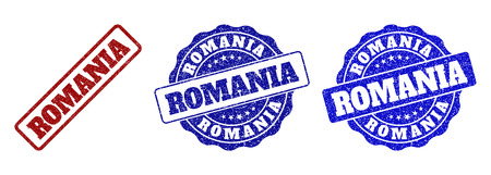 ROMANIA scratched stamp seals in red and blue colors. Vector ROMANIA labels with grunge style. Graphic elements are rounded rectangles, rosettes, circles and text labels.