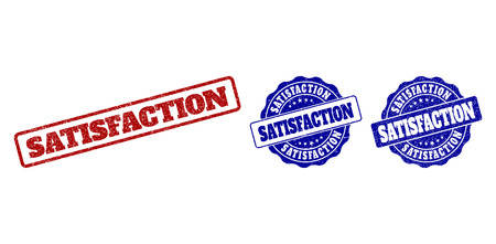 SATISFACTION scratched stamp seals in red and blue colors. Vector SATISFACTION labels with scratced texture. Graphic elements are rounded rectangles, rosettes, circles and text labels.