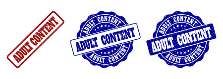 ADULT CONTENT scratched stamp seals in red and blue colors. Vector ADULT CONTENT labels with scratced texture. Graphic elements are rounded rectangles, rosettes, circles and text captions.