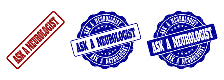 ASK A NEUROLOGIST grunge stamp seals in red and blue colors. Vector ASK A NEUROLOGIST labels with grunge texture. Graphic elements are rounded rectangles, rosettes, circles and text labels.