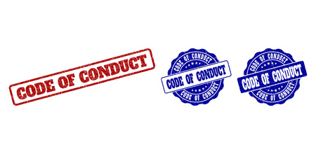 CODE OF CONDUCT scratched stamp seals in red and blue colors. Vector CODE OF CONDUCT imprints with distress style. Graphic elements are rounded rectangles, rosettes, circles and text labels.
